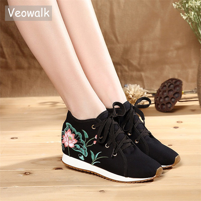 Veowalk New Women Canvas Embroidered Sneakers Hidden Platforms Classic Ladies Low Top Lace up Comfort Flats Traveling Shoes lace trim embroidered smock top