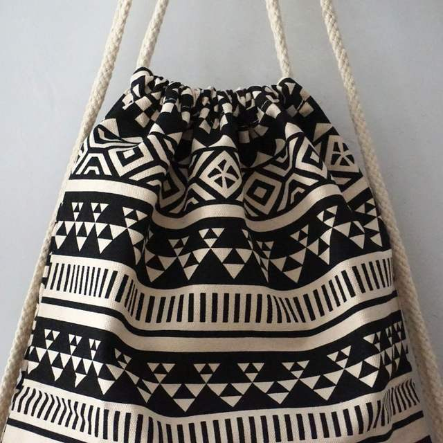488178fbba6e placeholder Black and White Bohemian Backpacks Women Canvas Drawstring  String Bags Women Handbag Backpack Canvas Sack Pack