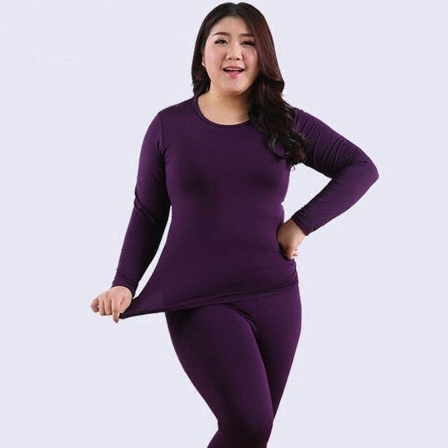 375b8fcf258 New Autumn Winter Fleece Warm 2 Pieces Women Long Johns Large Size Slim  Soft Thermal Underwear Women Plus Size XXL-6XL