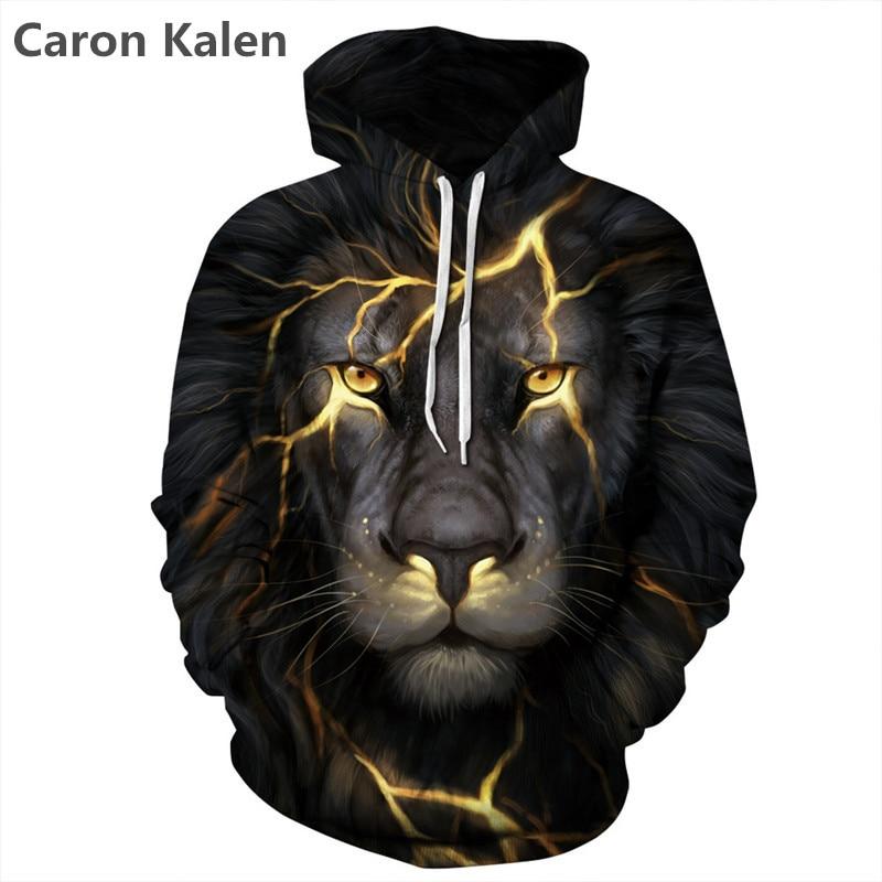 New 2018 Spring Fashion Men Women Sweatshirts Print 3d Black Lightning Lion Hooded Hoodies Thin Hoody