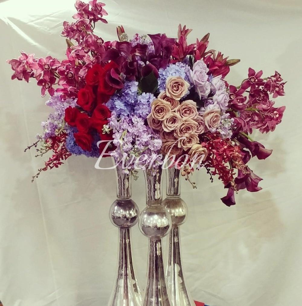 80cm Tall Wedding Flower Vase Metal Trumpet Vase For: 63 Cm 74 Cm Tall Metal Gold Silver Flower Vase Wedding