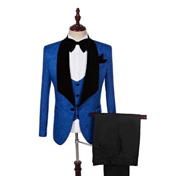 Men's suit fashion slim blue pattern suit three-piece suit (jacket + pants + vest) business casual suit wedding banquet dress