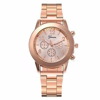 Hot Unisex Rose Gold & Silver Watch Luxury Fashion Women Men Stainless Steel Quartz Wristwatches Gift Clock Montre Femme