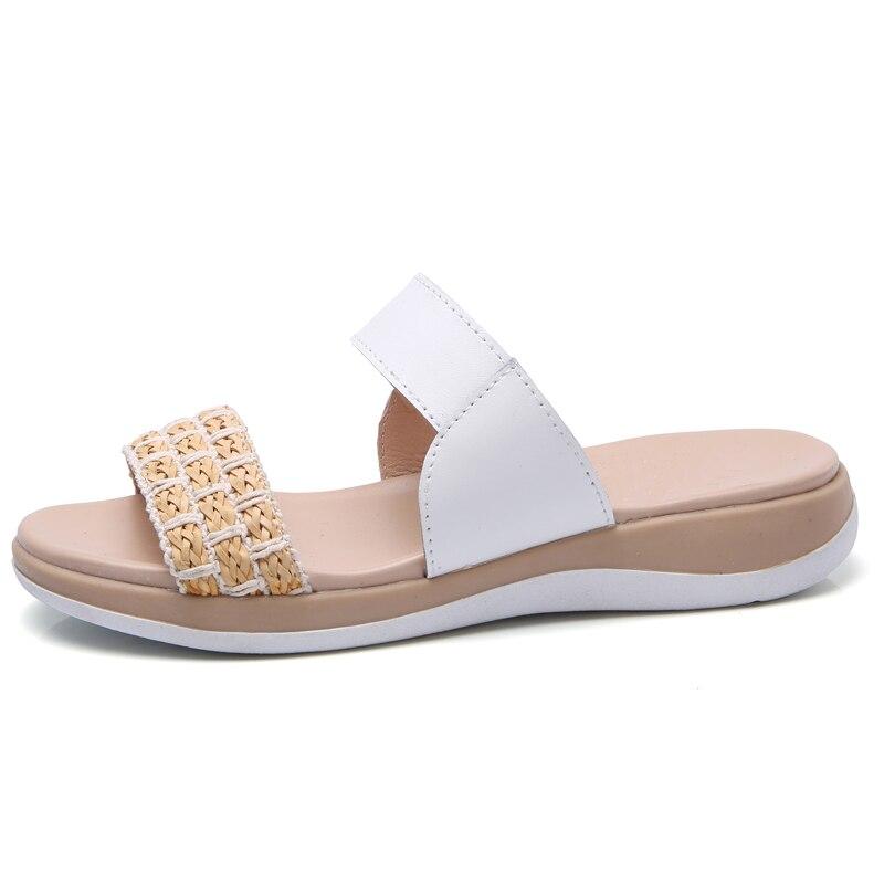 c5395238b0e94 STQ 2018 Summer women slippers slip on round toe flat woven slides sandals  women white black leather slippers flip flops 736-in Slippers from Shoes on  ...