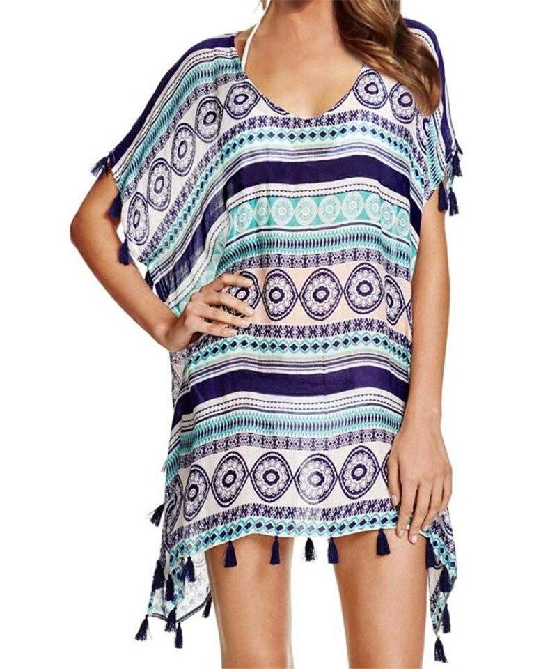 tassel print chiffon striped beach cover up swimwear women beach pareo robe de plage swimsuit