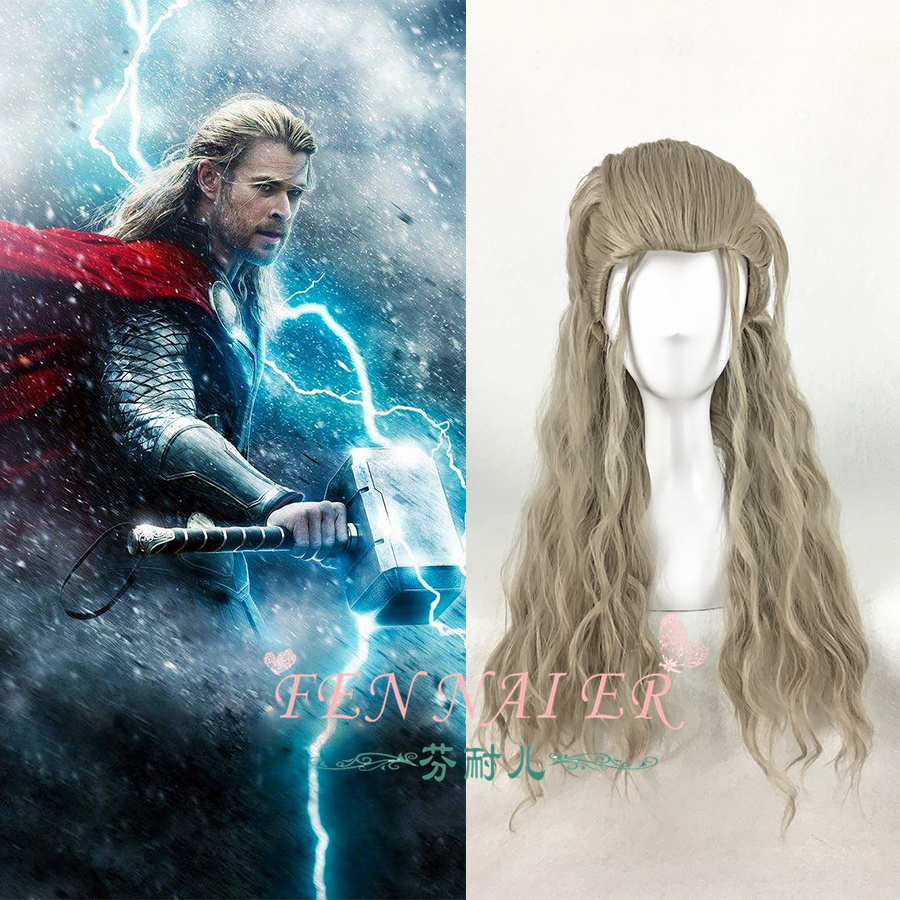 Thor Odinson Cosplay Wig Avengers Infinity War Long Curly Hair Halloween Role Play avenger union 2 thor wig men s long blonde cosplay curly hair wigs