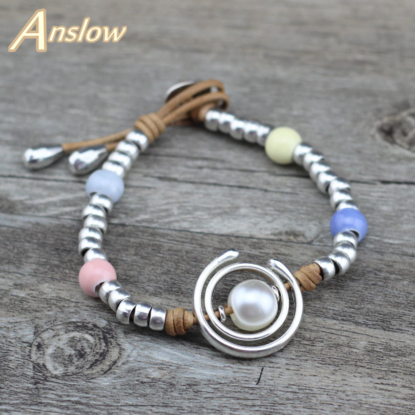 Anslow Cute Korean Romantic Fashion Sweet Female Lady Student Friendship Leather Bracelet Charm Birthday Party Gift LOW0679LB