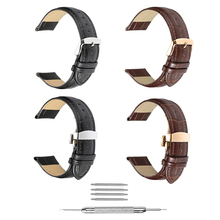 iStrap Genuine Leather Watchbands 12-24mm Universal Watch Pin Buckle Band Steel Buckle Strap Wrist Belt Bracelet + Tool недорого