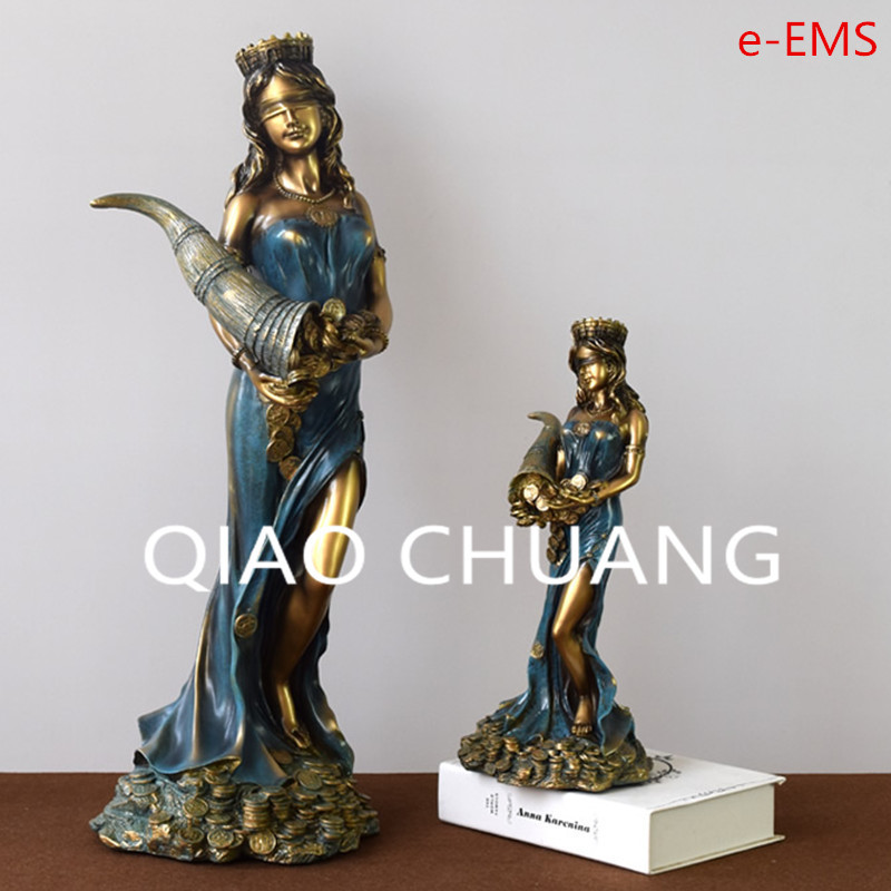 European Style Greek Mythology The Goddess Of Fortune Sculpture Resin Craftwork Home Furnishing Articles G1455 dentist gift resin crafts toys dental artware teeth handicraft dental clinic decoration furnishing articles creative sculpture