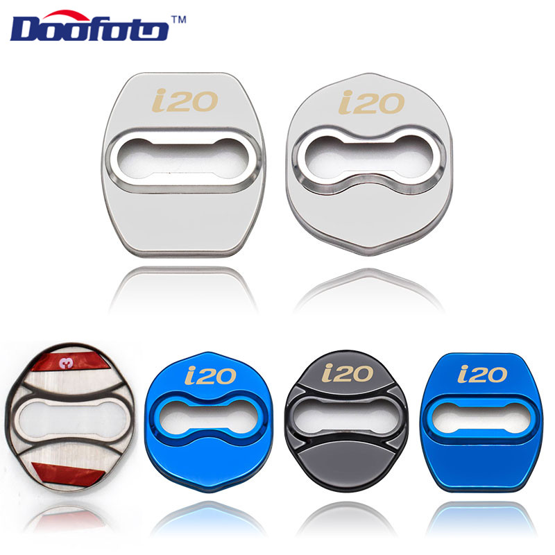 Doofoto Car Styling Sticker Lock Decor Accessories Buckles Fit For Hyundai I20 IX35 For Kia Auto Stainless Steel Door Lock Cover