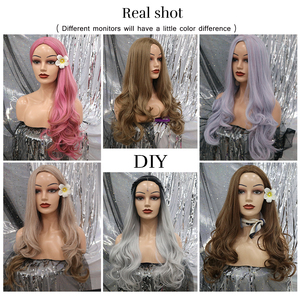 Image 3 - Element długa syntetyczna różowa peruka naturalne fale peruki dla białych/czarnych kobiet środkowa część żaroodporna peruka do Cosplay 5 kolorów