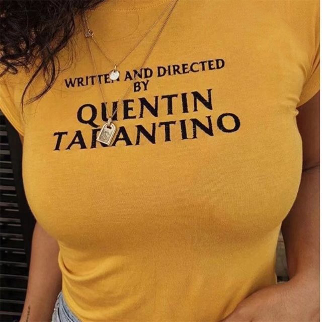 4ca4f75969a97 Written and directed quentin Tarantino yellow t shirt 90s women fashion  tees goth grunge tops camisetas