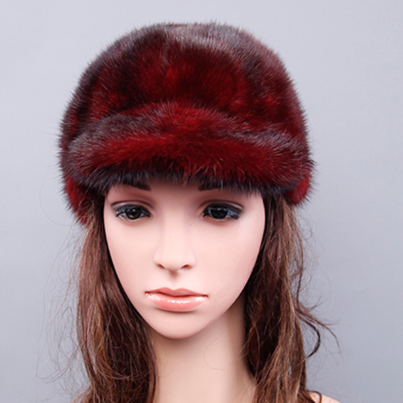 Winter Hats Women With Natural Real Fur Female Cap Mink Fur Real Knitted Caps Pineapple Hat solid Mink Fur Hat For Women