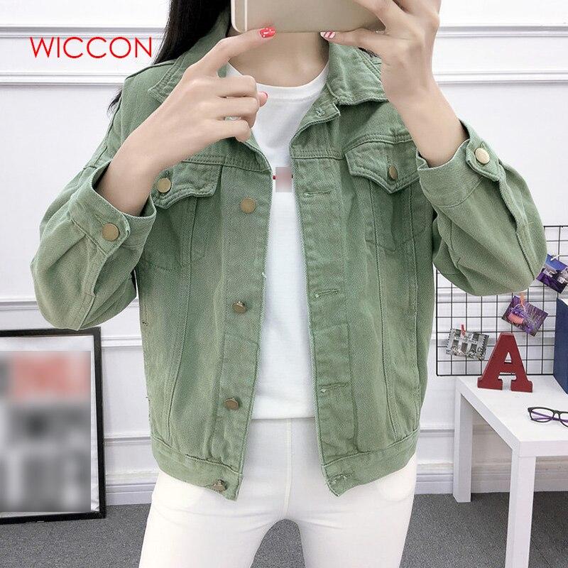 Women Beige Khaki Green Basic Jacket Denim Women's Loose Korean Female Coat Spring Autumn 2019 Woman's Jacket Jeans Casual
