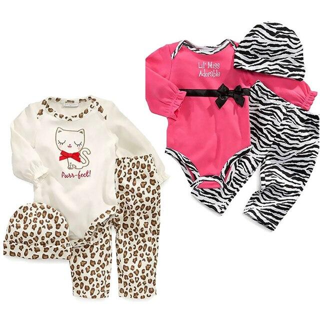 2018 Outono inverno roupas de bebê menina definir manga longa leopardo  romper + calça + chapéu fbb78082ae4