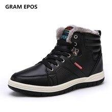 Gram Epos мужской Большие размеры 47 48 Сапоги Мужская зимняя обувь Кожа Теплый плюш модные брендовые мужские ботильоны для холодной зимы