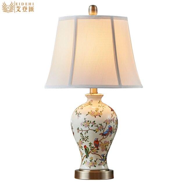 Klasyczny Ręcznie Malowane Chiński Ceramiczne Tkaniny Led E27 Lampa