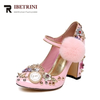 RIBETRINI 2018 Spring Autumn Sweet Brand Metal Decoration Natural Leather Women Pumps Super High Heels Date