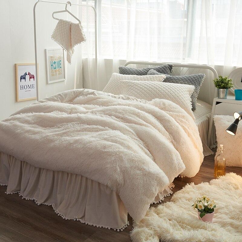 Dicke Fleece Warme Bettwäsche set Lila Beige Rosa Grau König Königin twin größe Bett blatt/rock set Bettbezug für Mädchen Kissen-in Bettwäsche-Sets aus Heim und Garten bei  Gruppe 3