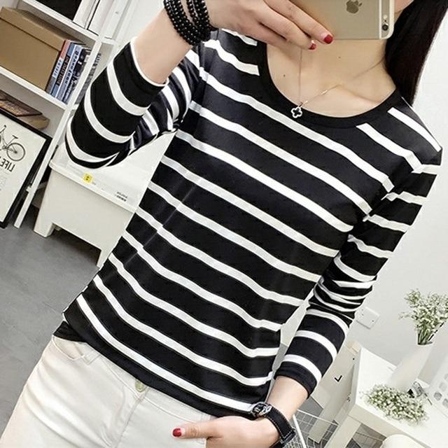b7186e69a 2018 HOT Striped Shirt Long Sleeve Black and White Stripes T-Shirt Women  Loose Student Bottom T Shirt Dropshipping