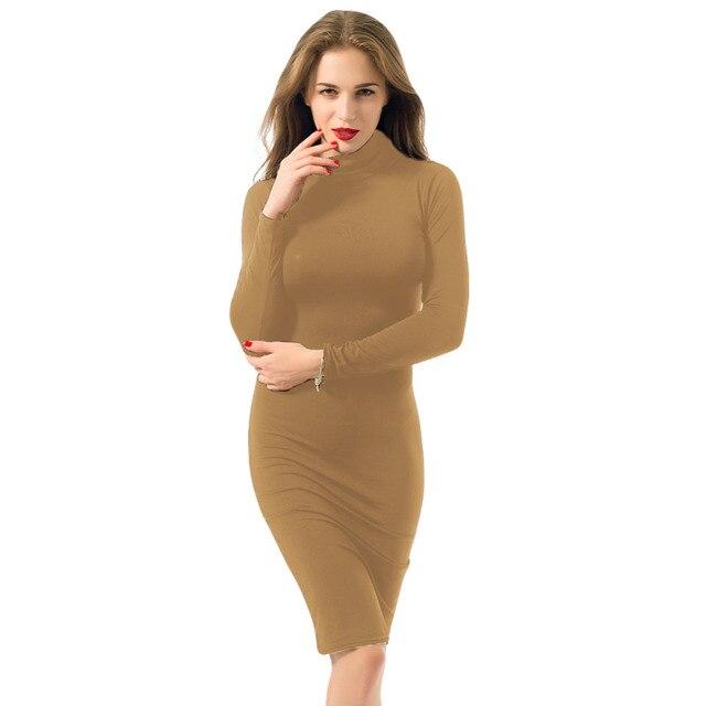 נשים סקסי מועדון שמלת 2019 צב צוואר ארוך שרוול סתיו חורף שמלת עיפרון ירך רזה שמלת תחבושת Bodycon שמלת Vestidos מועדון