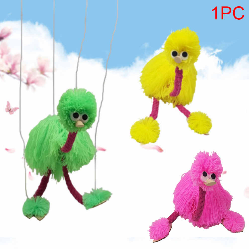 5PCS Wool Rope Ostrich Bird Wooden Stuffed Puppet Marionette Muppet Doll Toy Use