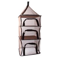 Camping Dry Net Storage Basket Shelf Portable Folding 4 Layer Hanging Mesh Foods Dish Outdoor Campping BBQ Tableware Picnic Bag