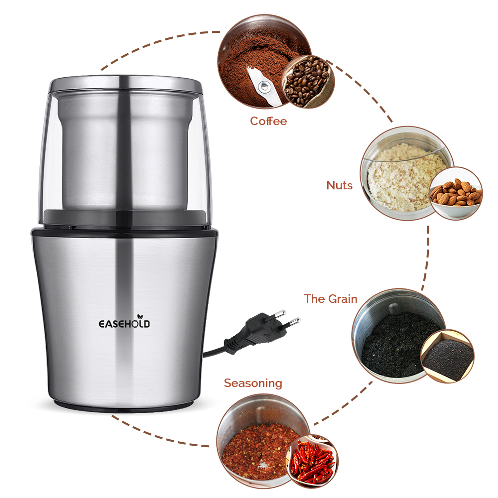 Easehold 200W Electric Coffee Grinder Stainless Steel Body Big Capacity for Salt Pepper Grinder Powerful bean Grinding Machine