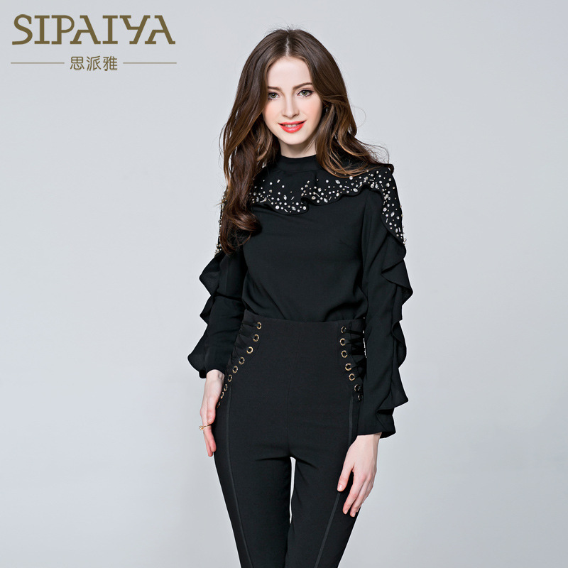 New style jacket nailed pearl shirt female nuns long sleeve high collar with a wide range of underpinnings