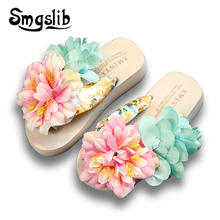 Girls Beach Slippers Women Home Shoes Kids Fashion Casual Flip-flops Sandals 2019 Summer Comfortable Children Floral Slippers цены онлайн