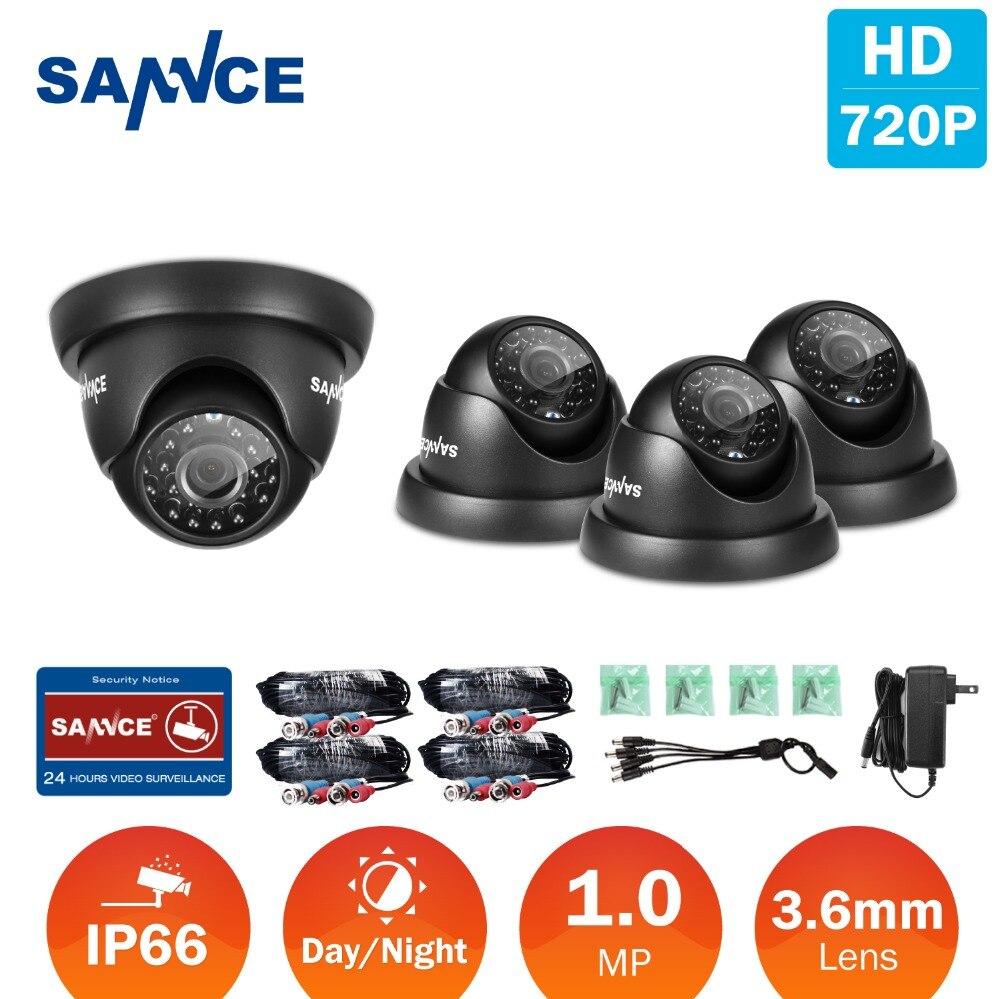 SANNCE 4 pcs Dôme 720 P CCTV Caméra IR Nuit IP66 1.0mp CCTV Sécurité Caméra de Surveillance avec 4 pcs 60ft BNC Câbles