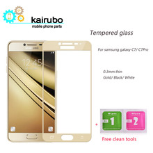 3PCS/LOT Full Screen Protection Tempered Glass For Samsung Galaxy C7 Pro Protector Film 9H Hardness 0.3MM