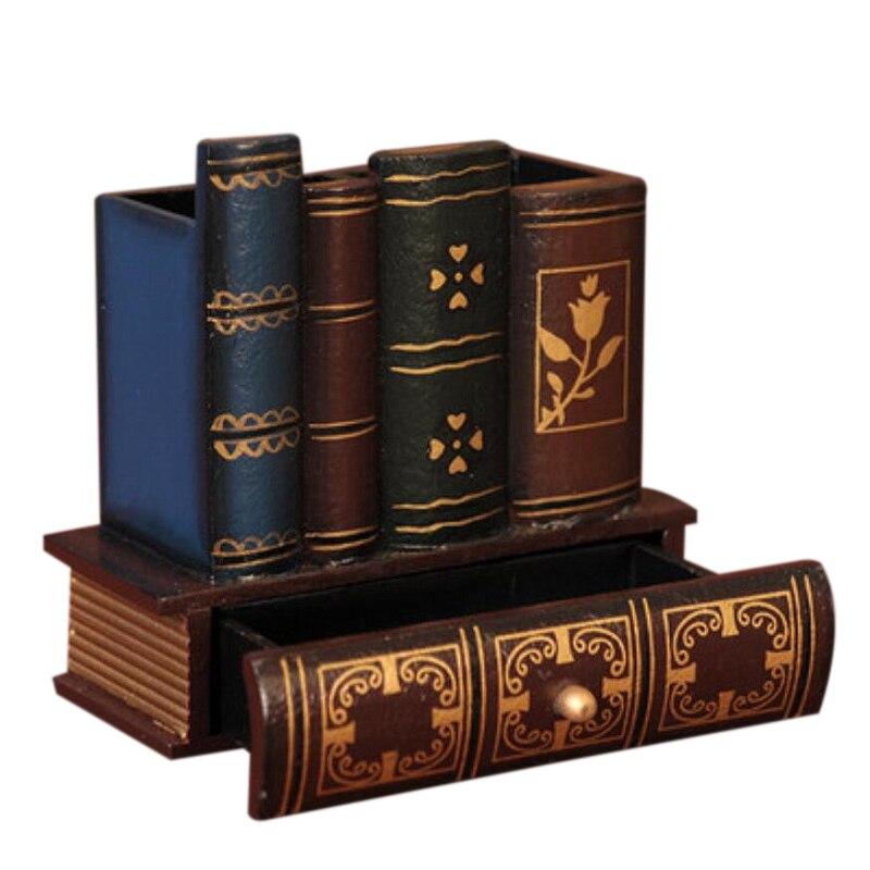 Multifunción Retro de madera pluma titular forma de libro artesanía de madera hogar Decoración lápiz escritorio caja de almacenamiento cajones papelería titular Gi