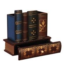 Wielofunkcyjny Retro drewniany uchwyt na długopis książka kształt drewno rękodzieło dekoracja wnętrz ołówek schowek na biurko szuflady biurowe Gi