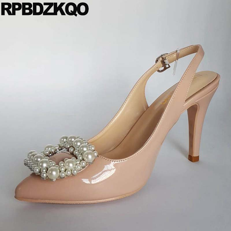 Plus Size Nude Strap Scarpin Sandals Slingback Pearl High Heels Shoes Pointed Toe Pumps Ladies 11 43 Prom Closed Rhinestone 12 pu closed toe color block slingback shoes