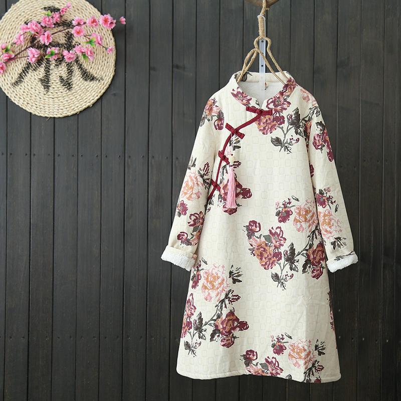 Cotton Linen Buckle Chinese Style Robes Women Dress Long Sleeve Thicken Warm Fleece Autumn Winter Floral
