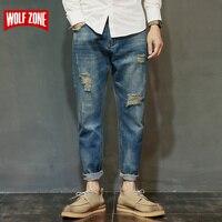 Famous Brand Factory Leather Zipper Jeans Men Deep Blue Slim Straight Pants Masculina Vaqueros Trouse Mid