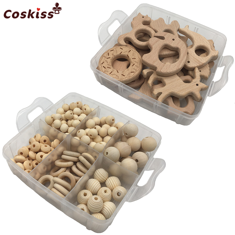 2 boxed Best Quality Wood Baby Teether Nursing Jewelry Beech wooden animal Geometry Wood Beads Creative
