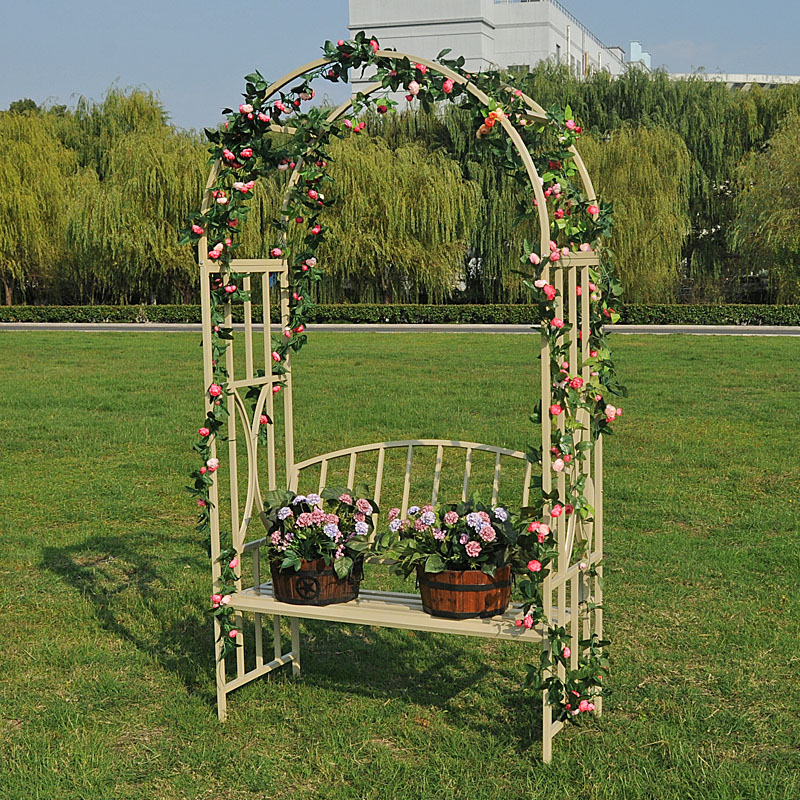 Horticultural flower rack with seat arch metal climbing pergola flower rack ironwork arch with bench park chair.