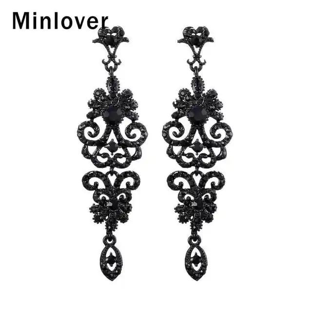 Minlover Korean Black Crystal Vintage Long Dangle Earrings for Women Rhinestone Teardrop Earrings 2019 Wedding Jewelry MEH948