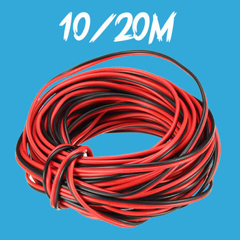 20M 2 Pin 2PIN LED Extension Wire Cable Strip Red Black Cord Connect for 5050 3528 Tape