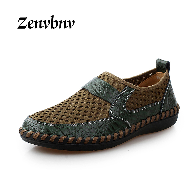 ZENVBNV Men Shoes Genuine Leather Summer Casual shoes Breathable Soft Driving Men's Handmade chaussure homme Net Surface Loafer men shoes genuine leather summer casual shoes breathable soft driving men s handmade chaussure homme loafers cut out boat shoes