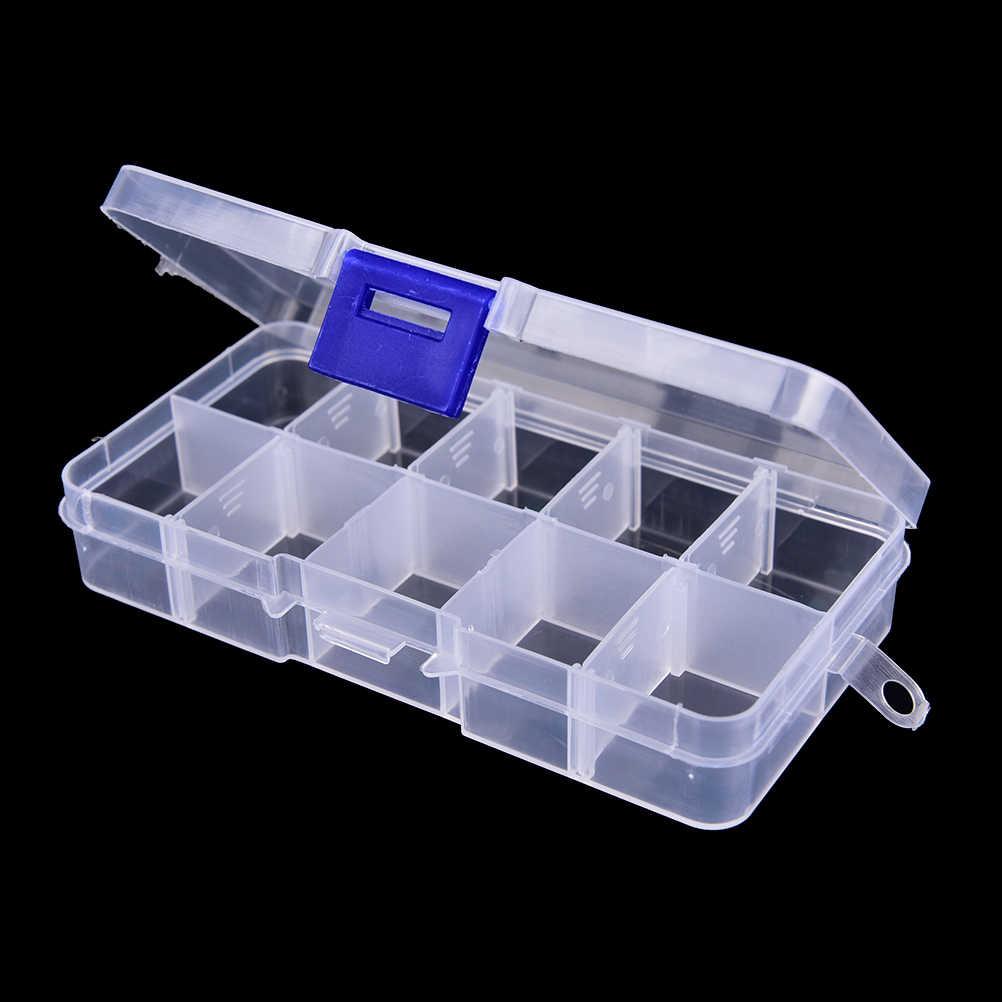 12.8*6*2.3 Cm 10 Compartimenten Vissen Lokken Opbergdoos Case Duurzaam Transparant Zichtbare Plastic Visgerei Doos vis Tool Nieuwe