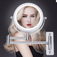 Wall Mounted Makeup Mirror LED Light Two Sided 360 Rotate Mirror 5X Magnification for Bathroom XHC88