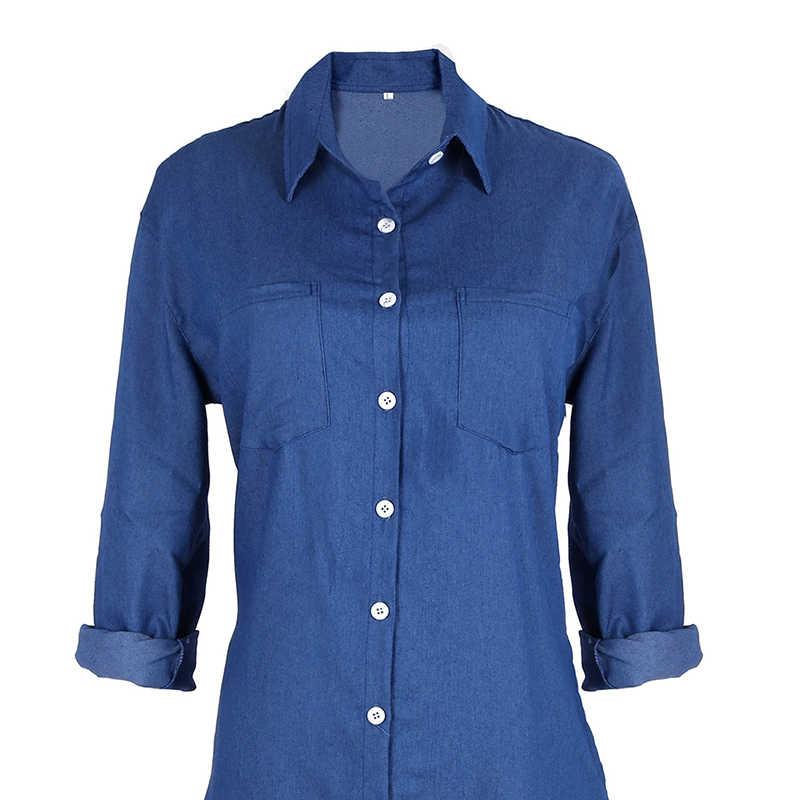 Летнее/осеннее женское джинсовое свободное джинсовое мини-платье с длинным рукавом, сексуальное повседневное длинное вечернее платье, платья-футболки