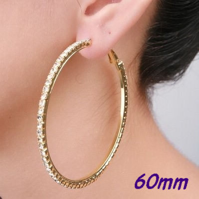 Silver/Gold 60mm Single Row Basketball Wives Crystal Rhinestone Big Hoop Earrings