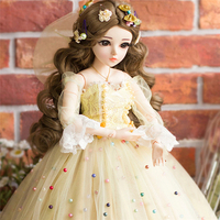 60CM BJD Dolls Hot New Bebe Reborn Makeup Doll With Elegant Maxi Dress Wigs Shoes Hat Beautiful Princess Toys for Girls
