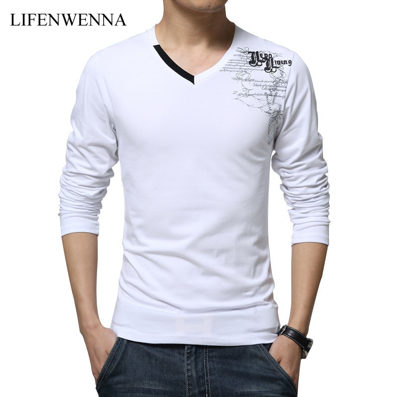 T     Shirt   Men Long Sleeve New Fashion 2019 Print Spring Men's Brand Clothing Casual Slim V-neck Cotton   T     shirt   Homme Tees M-5XL