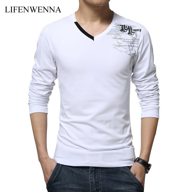 Camiseta de los hombres de manga larga de la nueva moda 2019 de impresión de primavera marca de ropa de los hombres delgados con cuello en v de algodón camiseta Homme Tees M-5XL