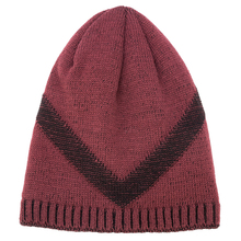 IANLAN 2019 New Letter V Hats for Men Winter Outdoor Fleece Mens Fashion Thick Knitted Woolen Caps Long Beanies IL00065
